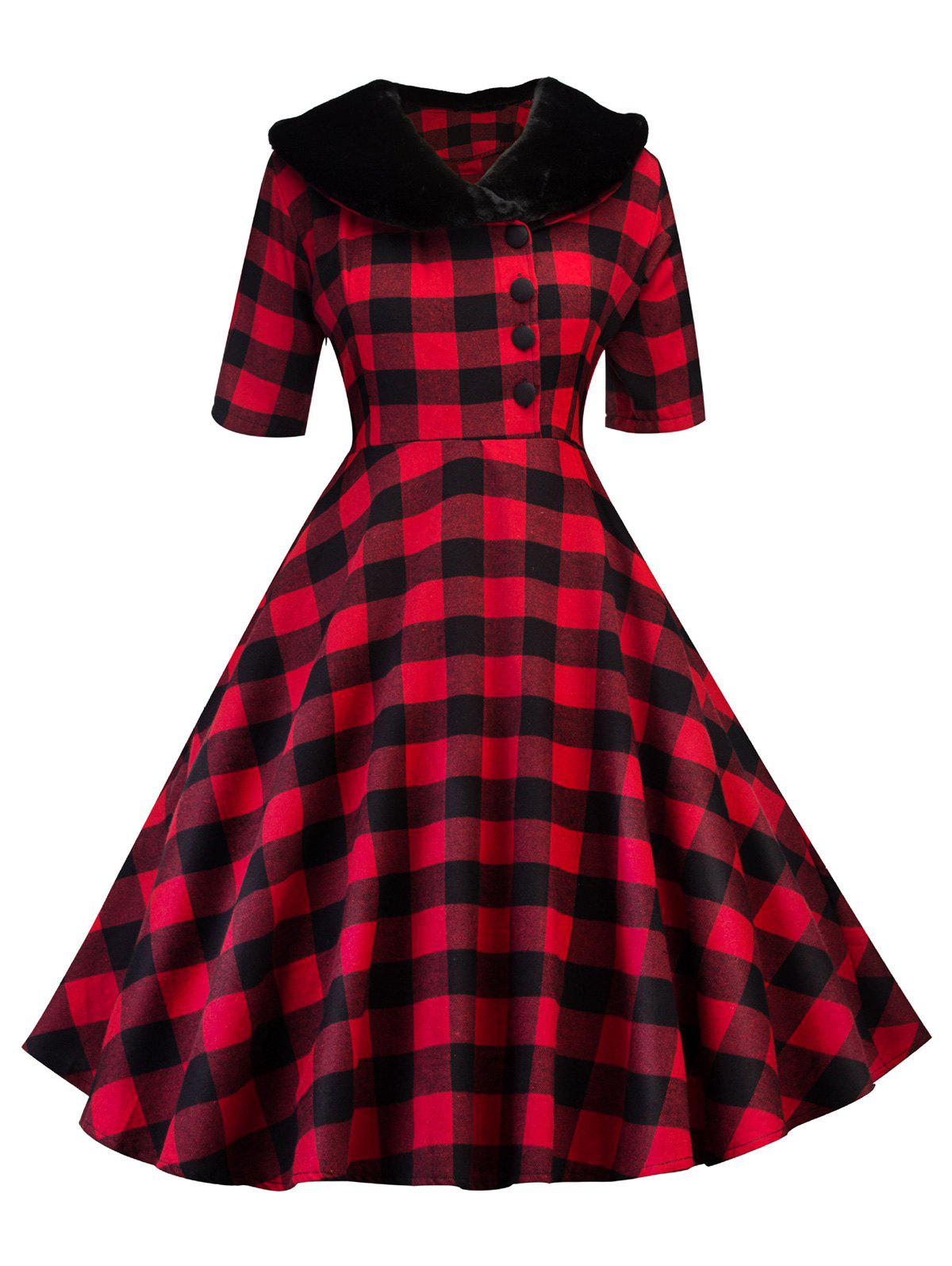 Detachable Faux Fur Collar Half Button Plaid Dress - RED L