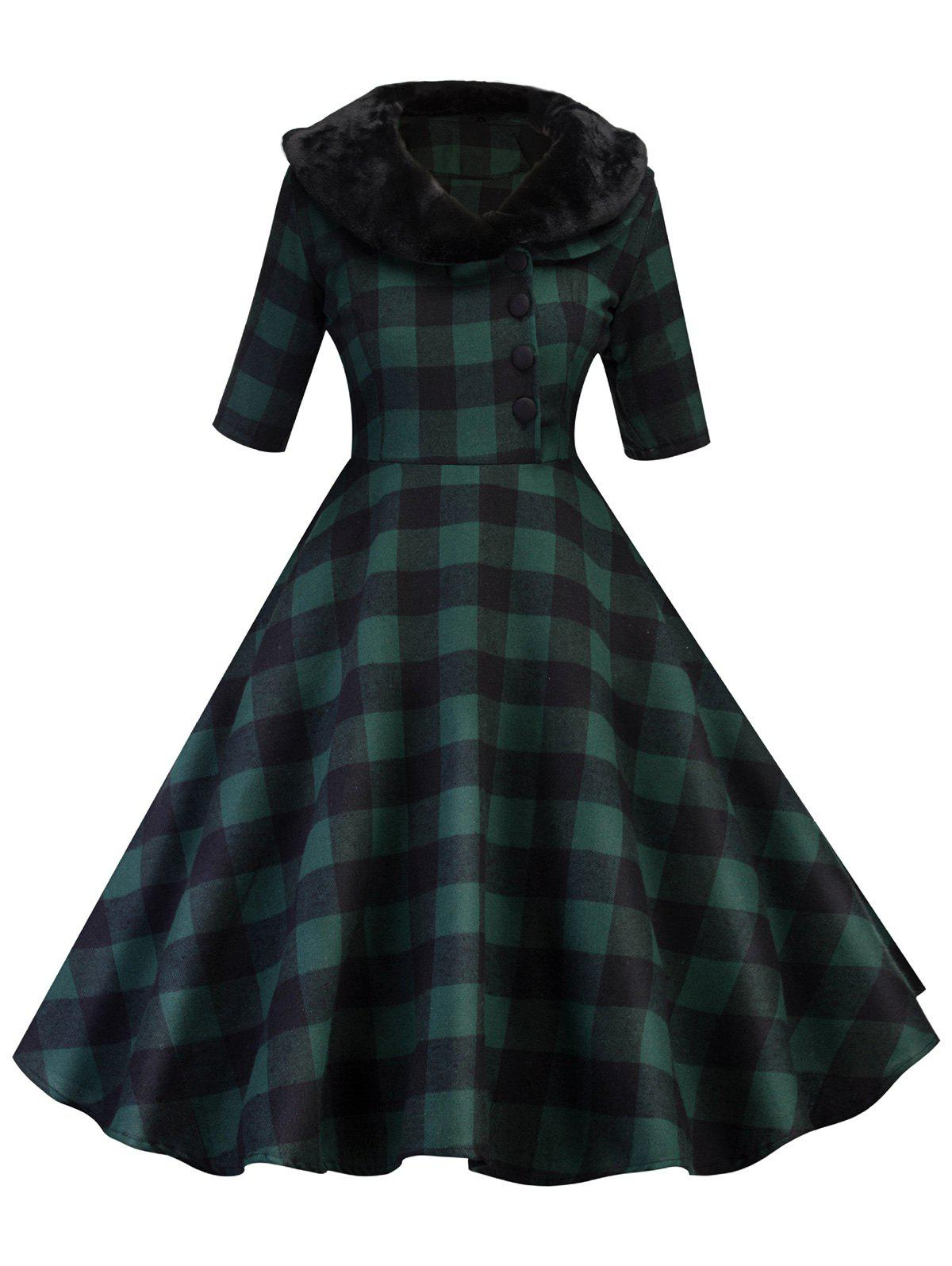 Detachable Faux Fur Collar Half Button Plaid Dress - DEEP GREEN M