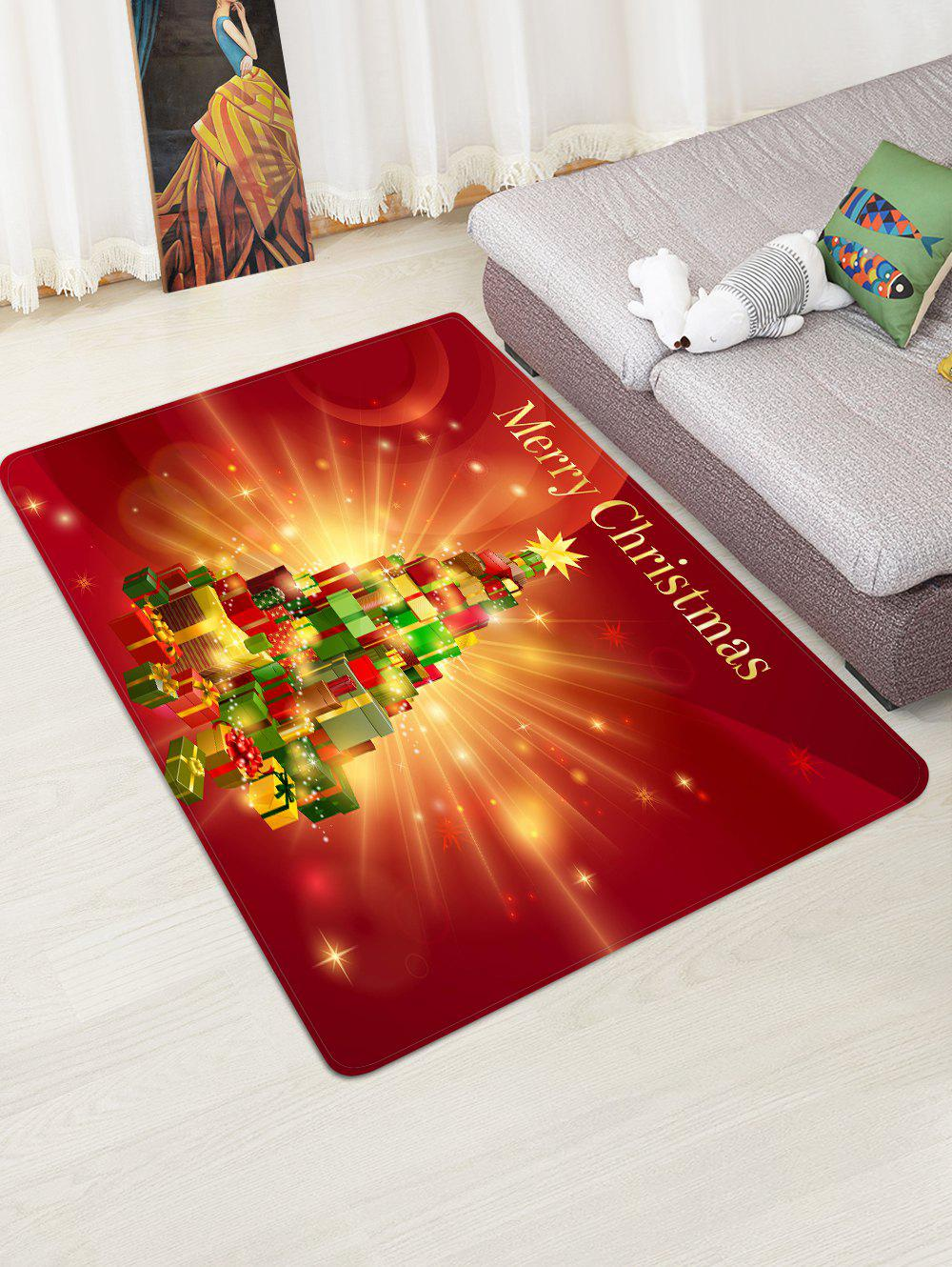 Merry Christmas Gift Tree Floor Rug - multicolor W47 X L63 INCH