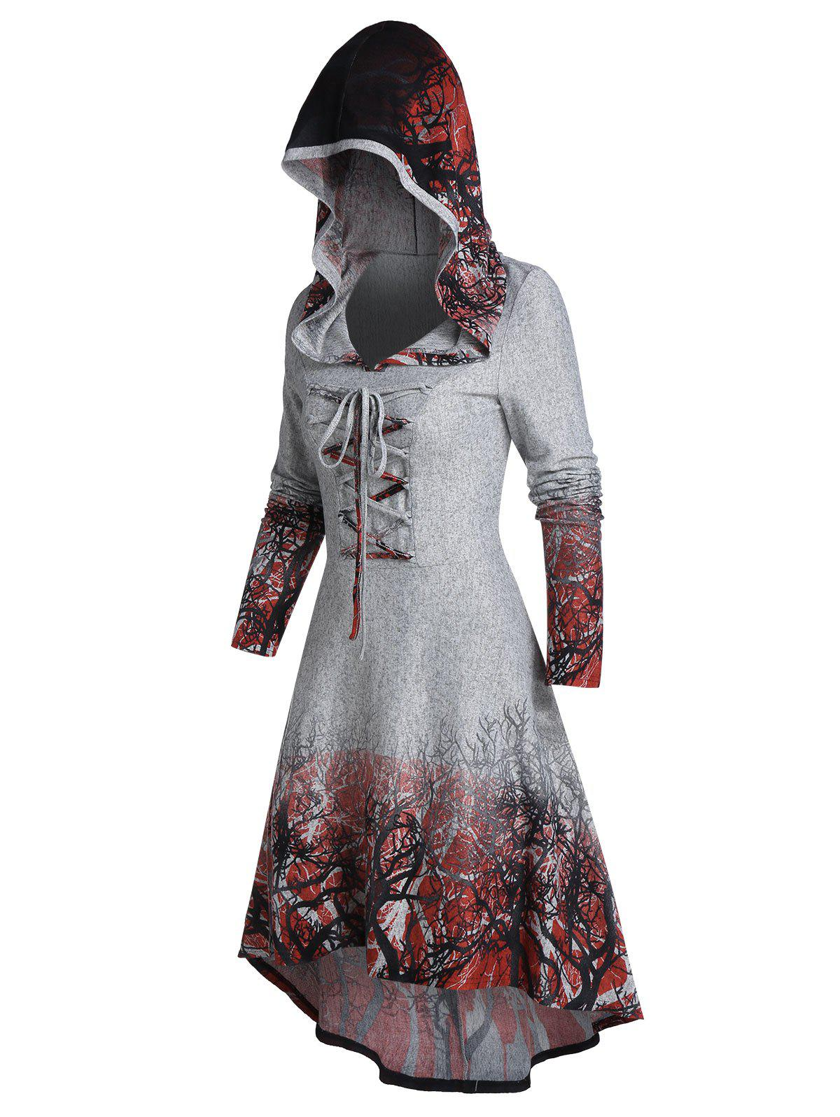 Hooded Tree Root Print Lace-up High Low Dress - GRAY CLOUD M