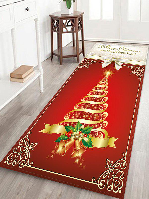 Merry Christmas Bowknot Floor Rug - multicolor W24 X L71 INCH