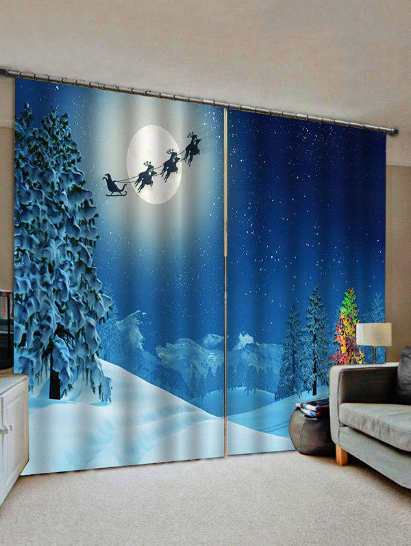 2 Panels Christmas Moon Sleigh Trees Print Window Curtains - multicolor W33.5 X L79 INCH X 2PCS