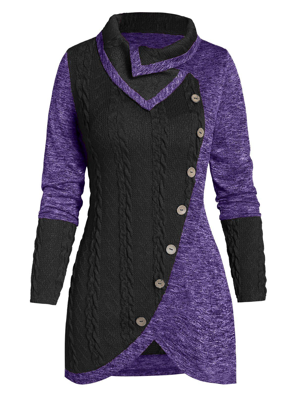 Button Two Tone Turn-down Collar Sweater - PURPLE AMETHYST L