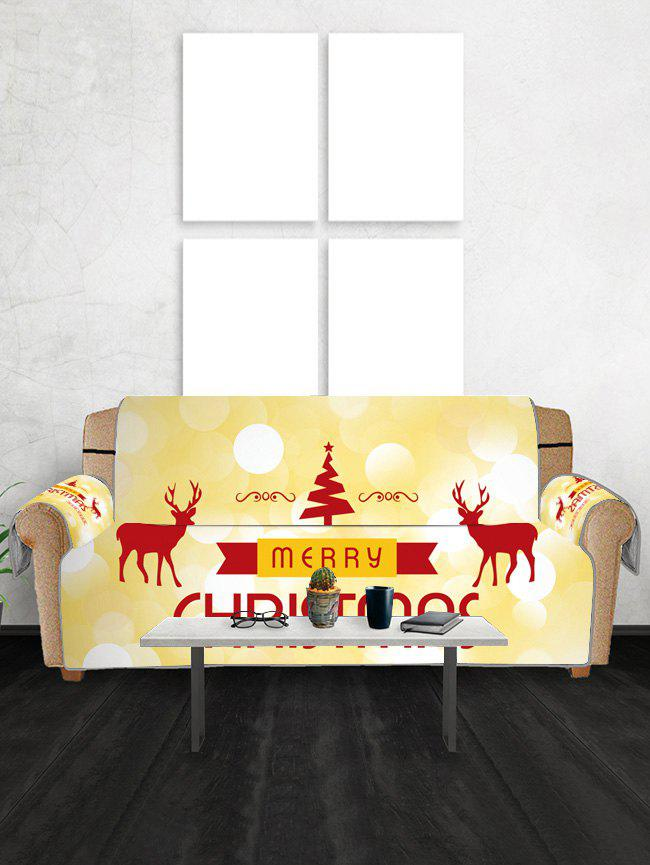 Christmas Tree Elks Greeting Pattern Couch Cover - YELLOW TWO SEATS