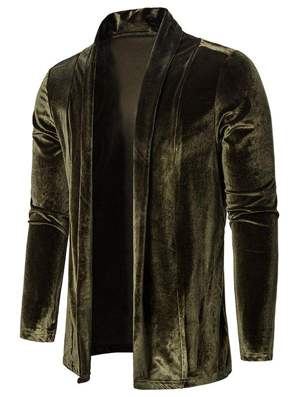 Solid Color Velour Open Front Cardigan - ARMY GREEN S