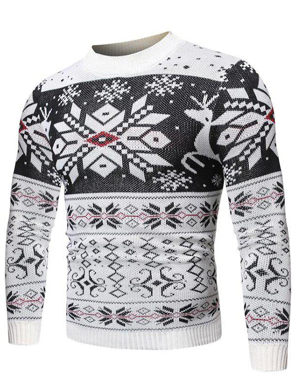 Christmas Snowflake Geometric Graphic Casual Sweater - WHITE M