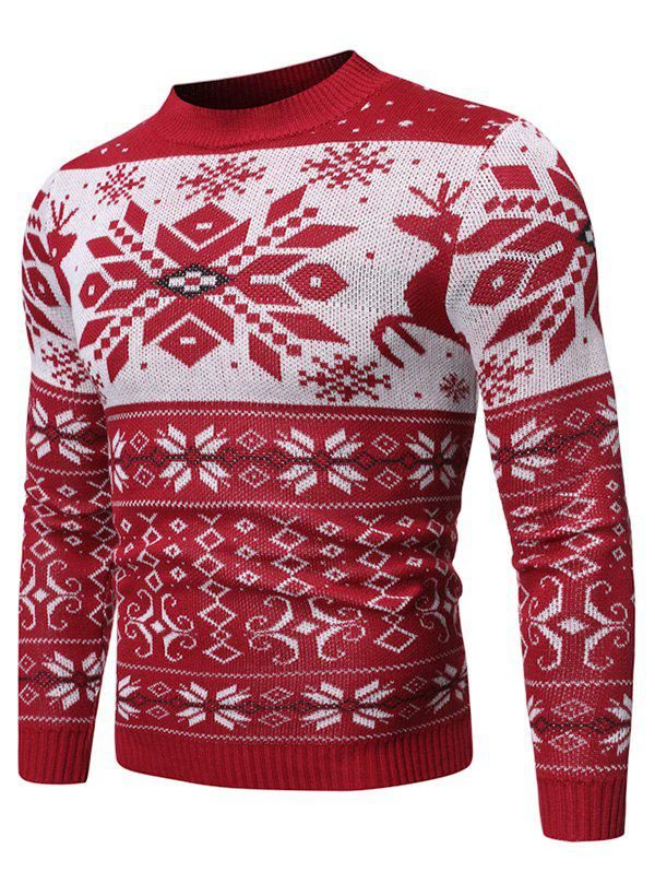 Christmas Snowflake Geometric Graphic Casual Sweater - RED XL