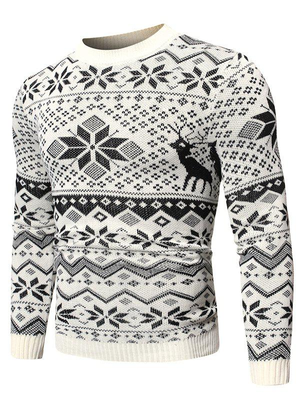 Christmas Snowflake Graphic Casual Sweater - WHITE S
