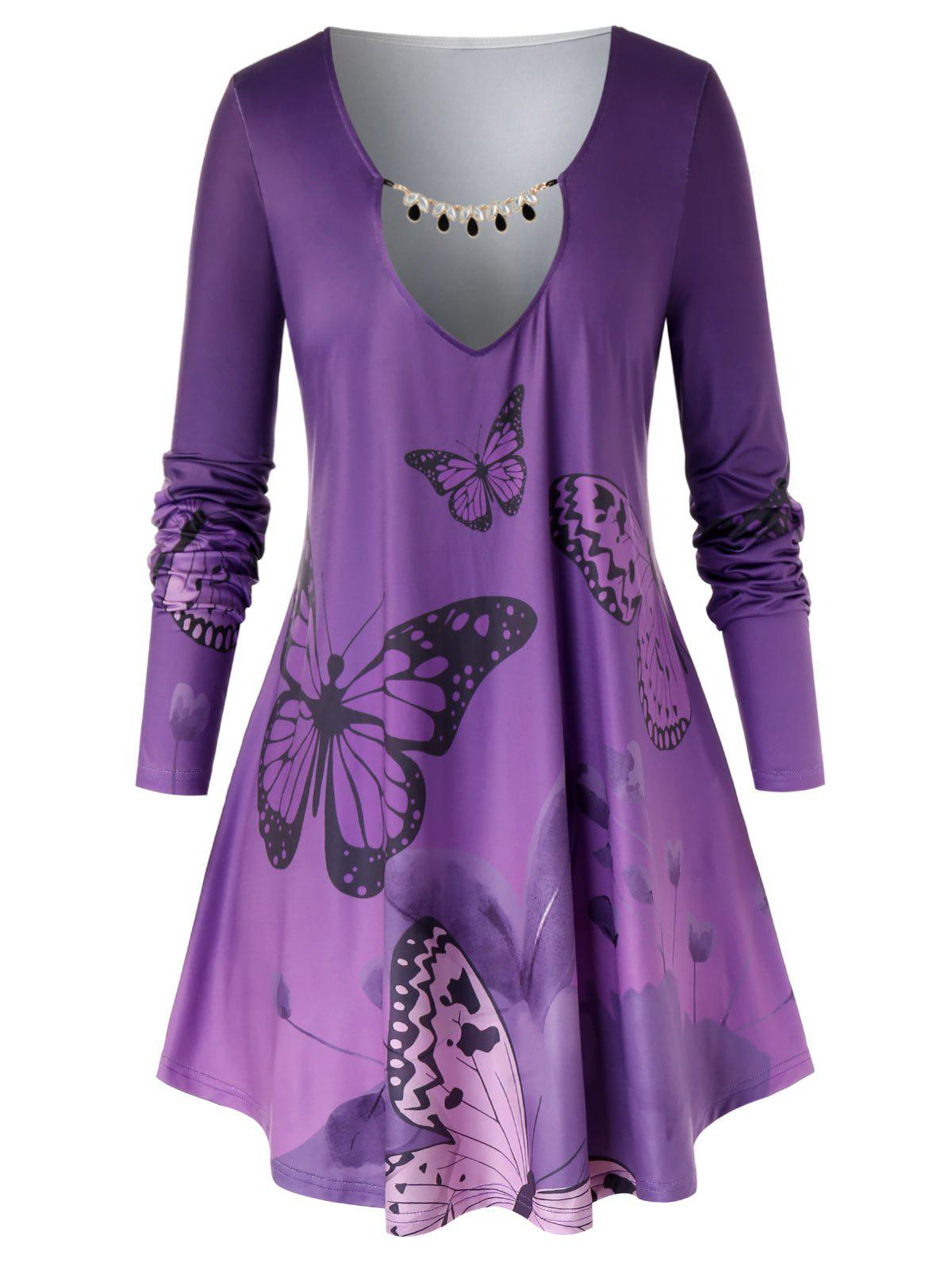 Plus Size Keyhole Butterfly Print Ombre Color T Shirt - PURPLE IRIS 3X