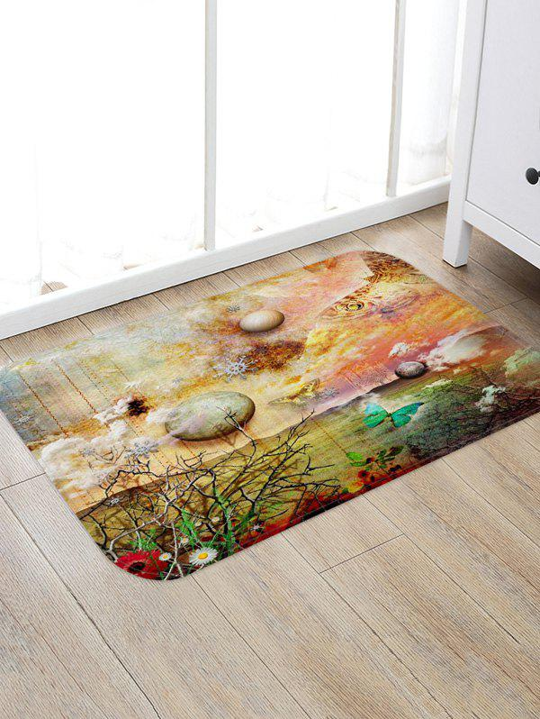Butterflies and Planets Pattern Water Absorption Area Rug - multicolor A W20 X L31.5 INCH