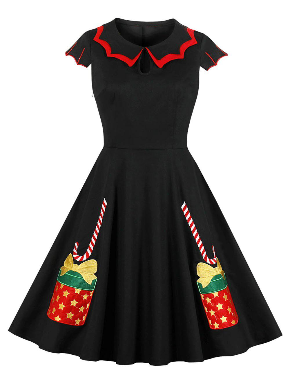 Flat Collar Christmas Embroidered Keyhole Vintage Dress - multicolor A L