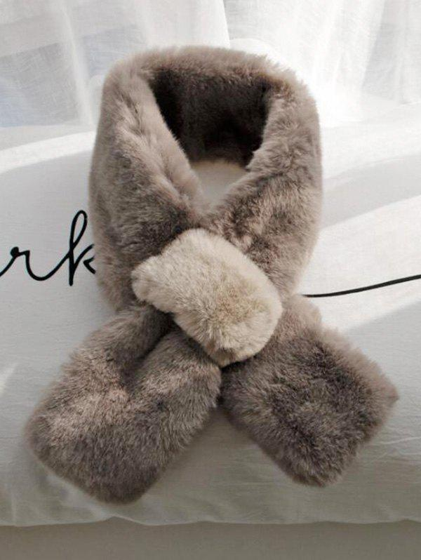 Winter Colorblock Faux Fur Neck Collar Scarf - COFFEE