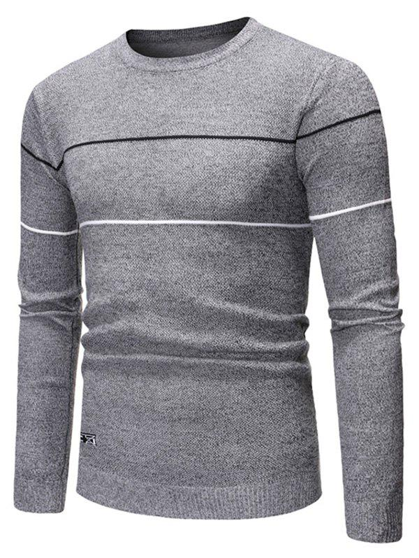 Stripes Graphic Casual Pullover Sweater - GRAY S