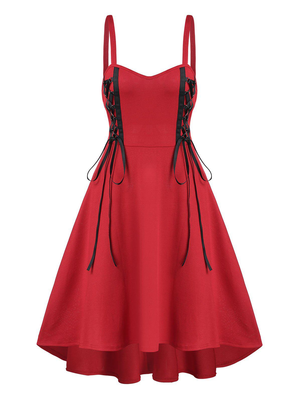 Lace Up Cami A Line Dress - RED L