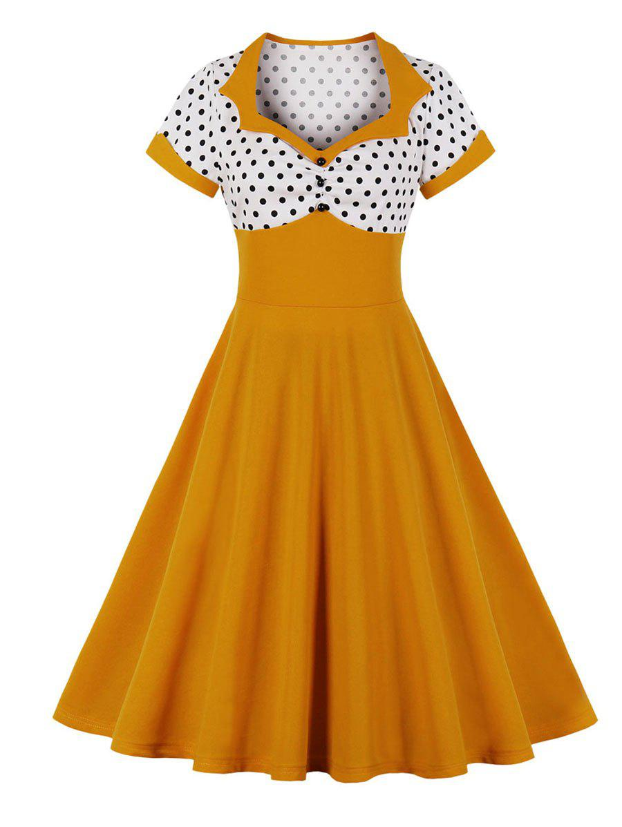 Polka Dot Cuffed Fit and Flare Vintage Dress - GOLDEN BROWN S