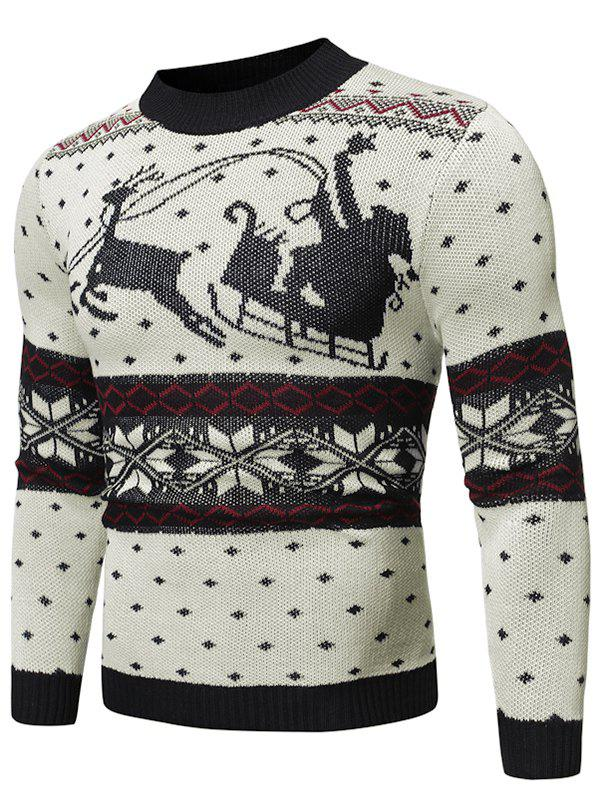 Christmas Pattern Graphic Casual Sweater - WHITE M