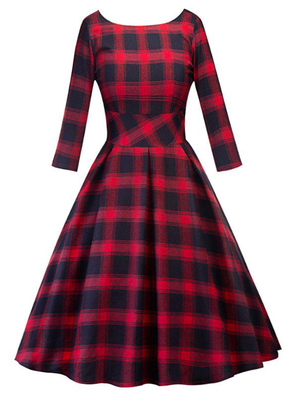 Plaid V Back Half Sleeve Vintage Dress - RED M