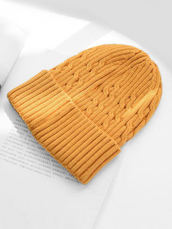 Knitted Solid Chic Winter Hat - YELLOW