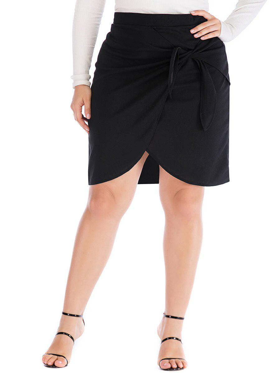 Knotted Overlap Tulip Plus Size Skirt - BLACK L