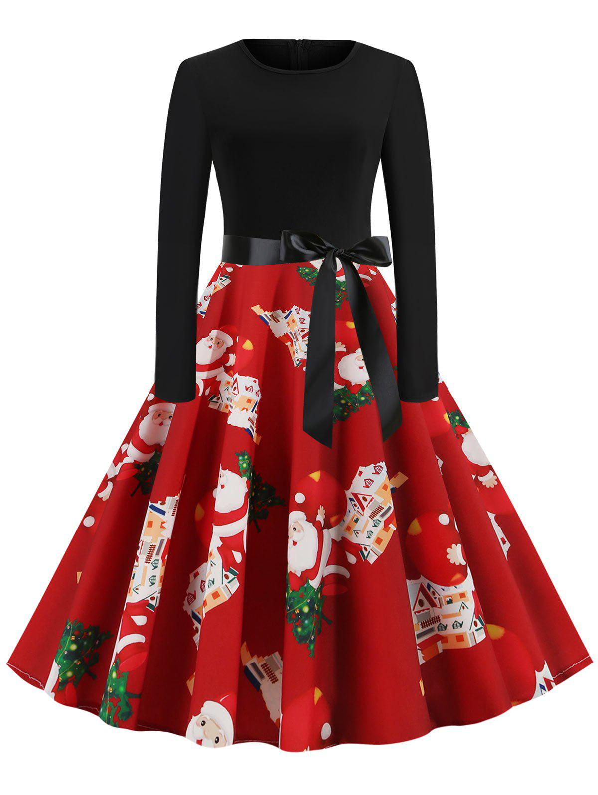 Christmas Santa Claus Snowflake Belted Long Sleeve Dress - RED M