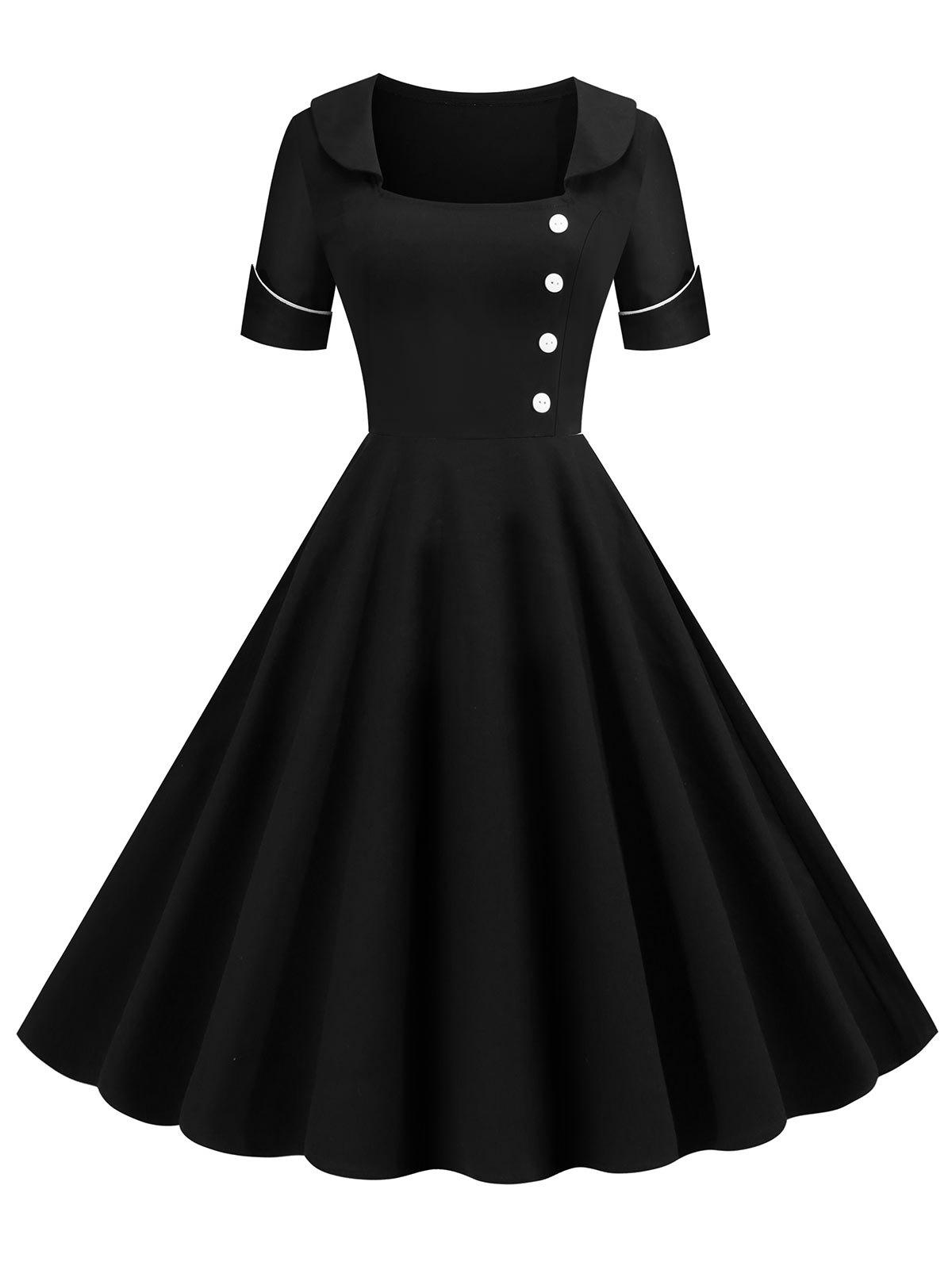 Contrast Piping Low Cut Buttoned Vintage Dress - BLACK XL