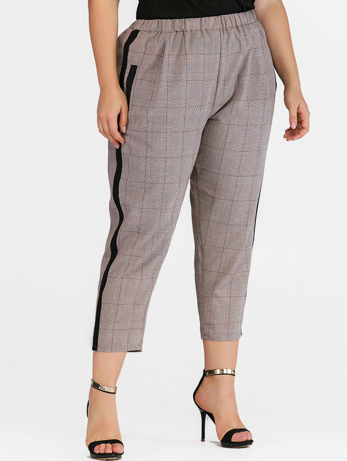 Contrast Tape Plaid Pockets Plus Size Straight Pants - KHAKI 1X