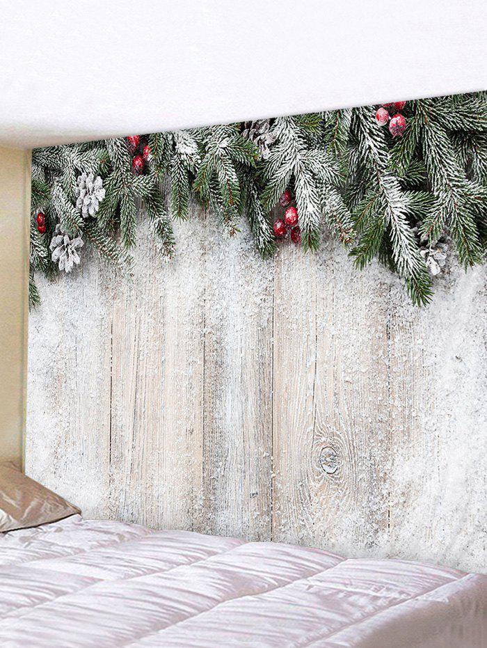 Christmas Branches Wood Board Pattern Tapestry Wall Hanging Art Decoration - multicolor W79 X L59 INCH