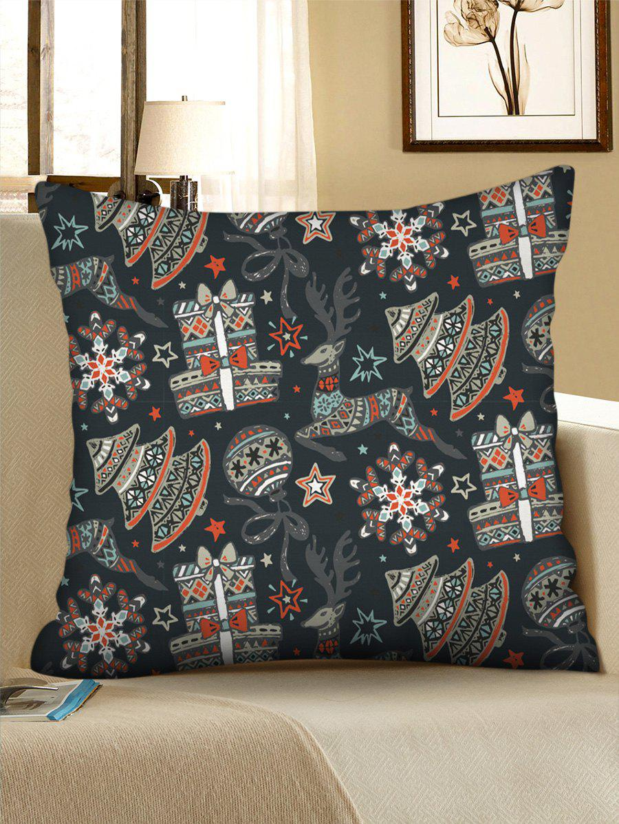 Christmas Tree Balls Elks Gifts Print Decorative Pillowcase - multicolor W18 X L18 INCH