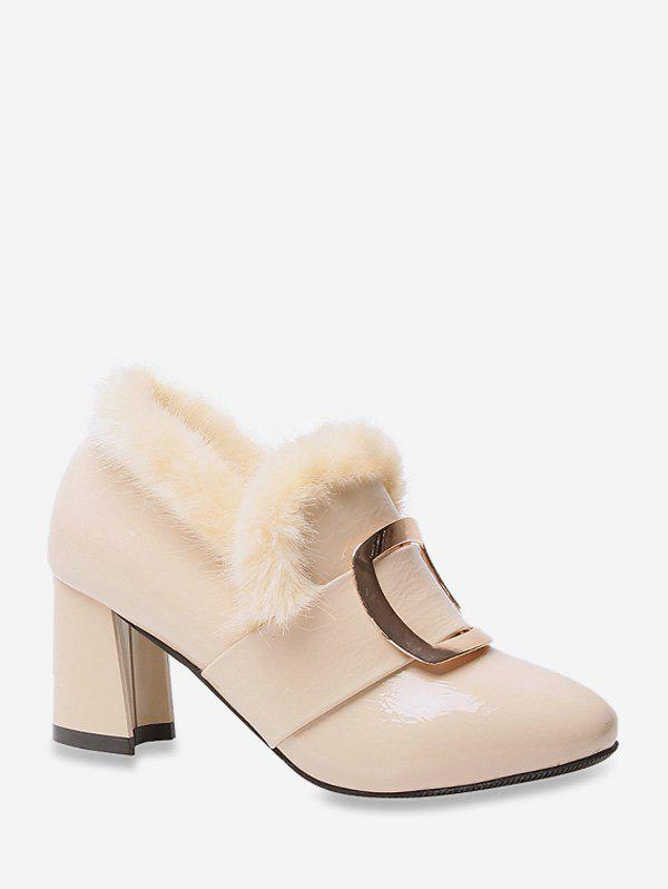 Square Buckle Fuzzy Trim High Heel Boots - BEIGE EU 42