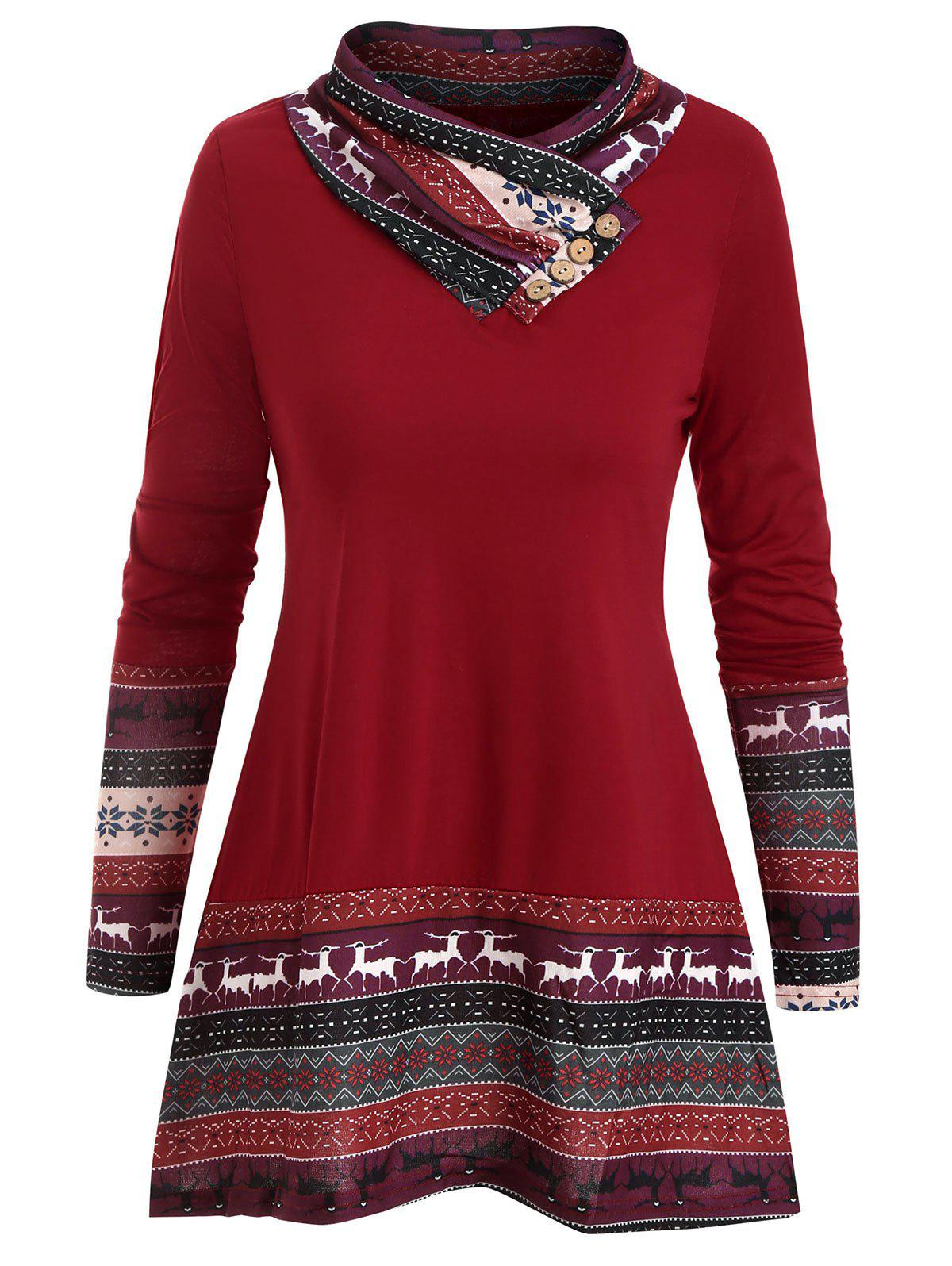 Reindeer Snowflake Buttons Cowl Neck Top - LAVA RED M