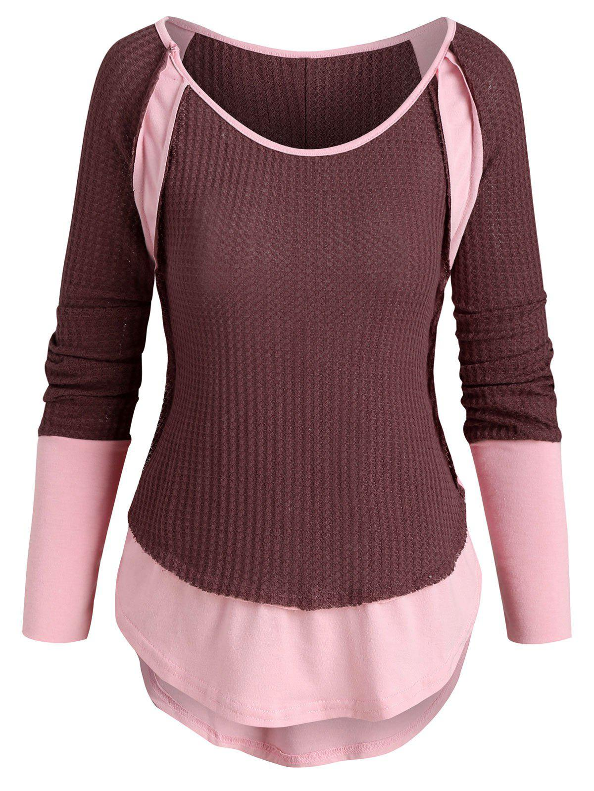 Contrast Patched High Low Knitwear - TULIP PINK M