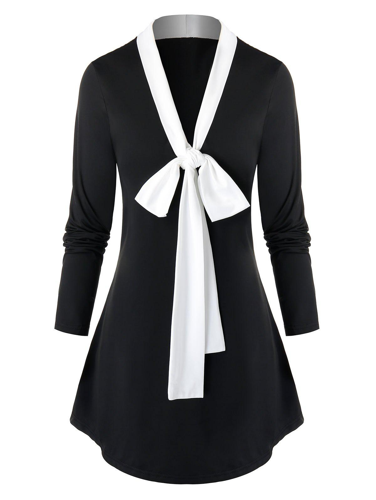 Plus Size Bowknot Long Tunic T Shirt - BLACK 5X