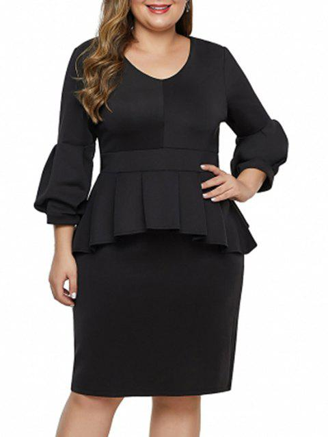 V Neck Plus Size Sheath Peplum Dress