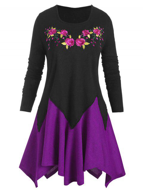 Plus Size Floral Embroidered Two Tone Handkerchief Knitwear