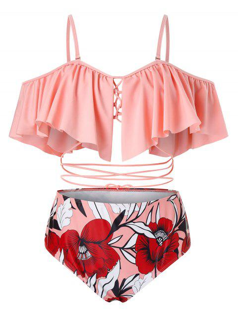 Plus Size Ruffled Lace Up Floral Two Piece Swimsuit