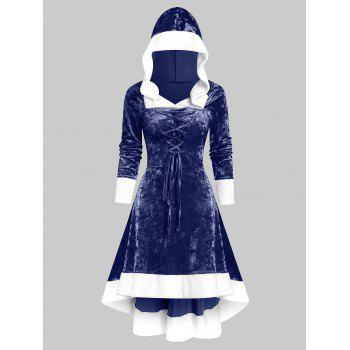 Hooded Faux Fur Trim Lace-up High Low Flannel Dress