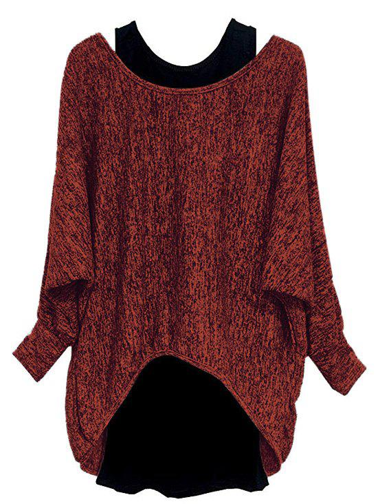 Plus Size High Low Batwing Sleeve Marled Tee And Tank Top Set - RED WINE 2X