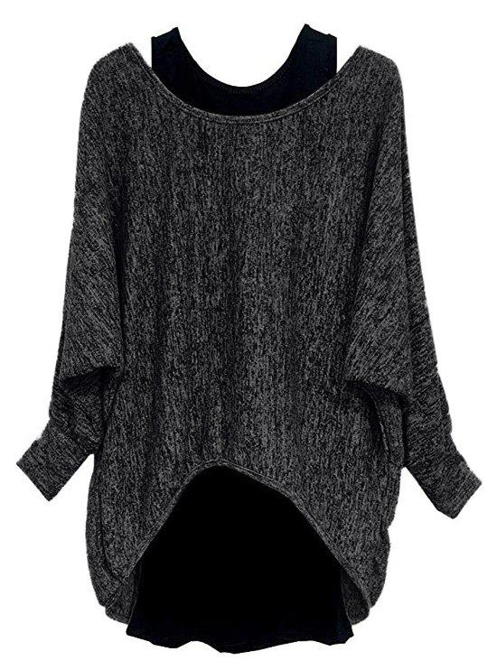Plus Size High Low Batwing Sleeve Marled Tee And Tank Top Set - NATURAL BLACK L