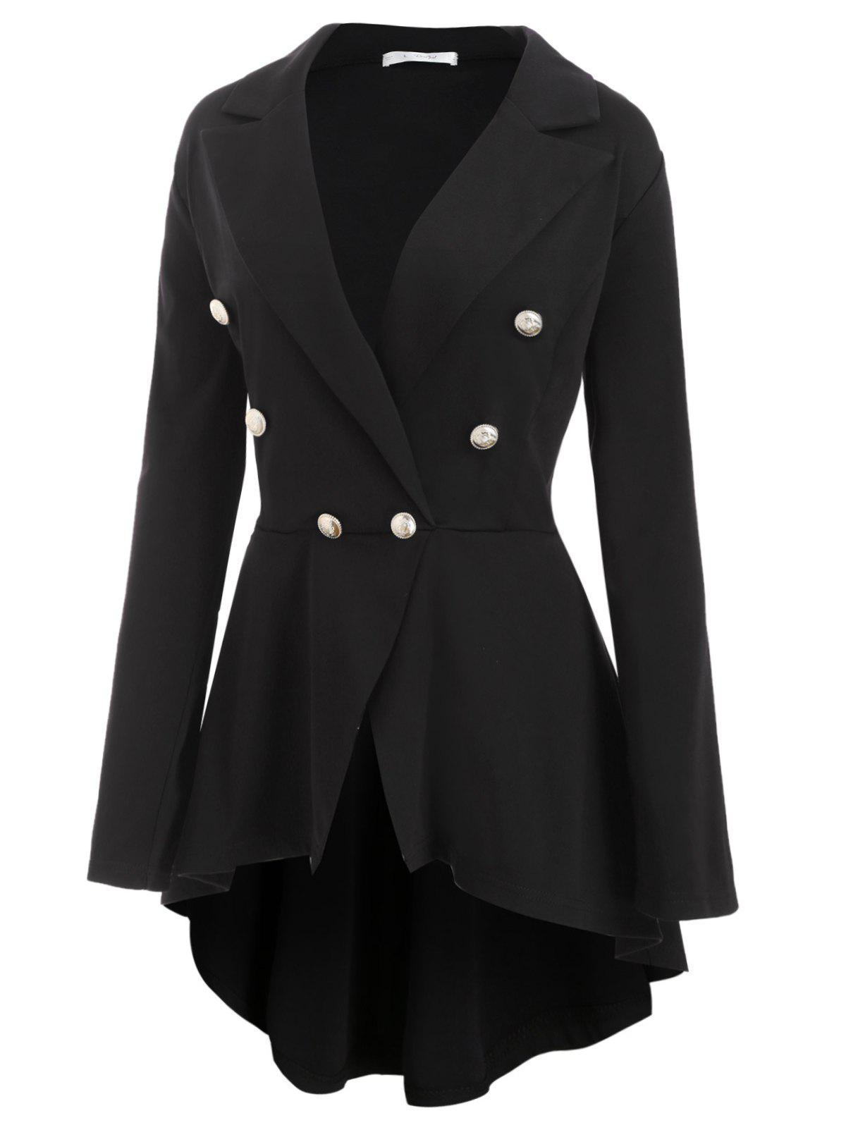 Buttoned Front High Low Skirted Plus Size Blazer - BLACK L