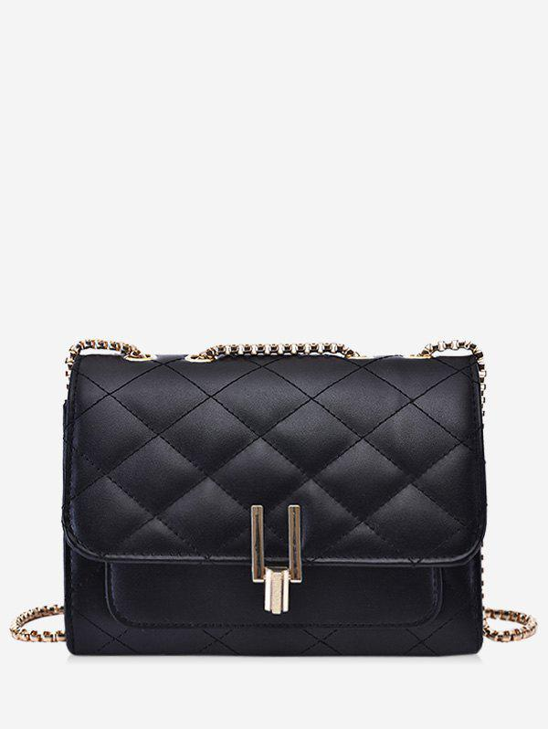 Rectangle Quilted Chain Crossbody Bag - BLACK