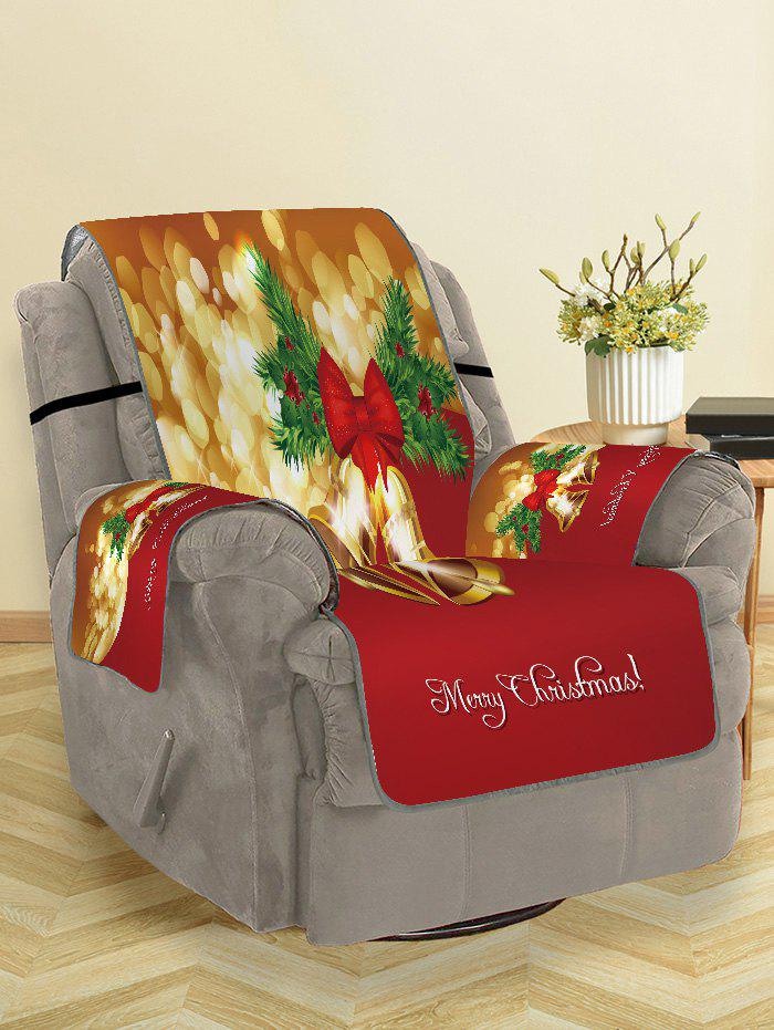 Merry Christmas Bell Printed Couch Cover - RED SINGLE SEAT