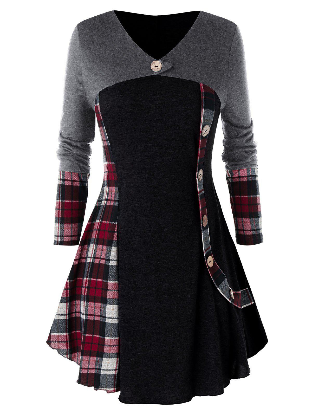 Plus Size Plaid Tunic T Shirt - BLACK 5X