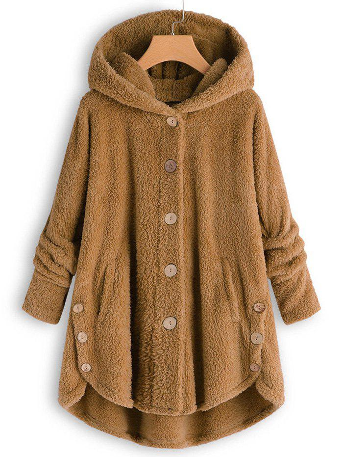 Hooded Faux Shearling touches plus Size Coat - Caramel 1X