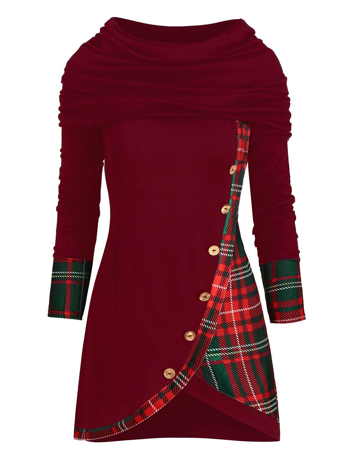 Plaid Multiway Button Embellished Tulip Hem Knitwear - RED WINE L