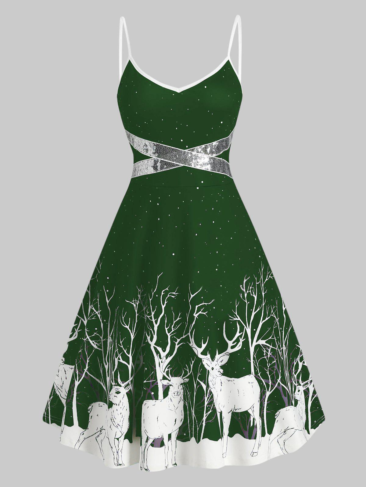 Sequined Reindeer Print Mini Cami Dress - MEDIUM FOREST GREEN L