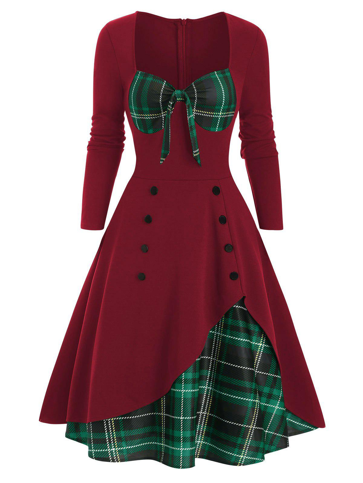 Plaid Button Embellished Overlap Bowknot Dress - RED WINE S
