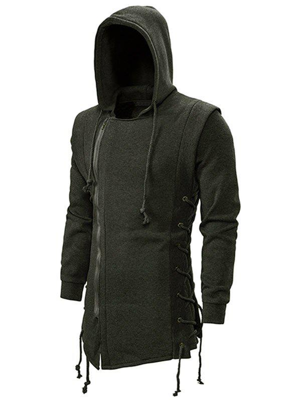 Side Lace Up Fleece Gothic Hoodie - ARMY GREEN XL