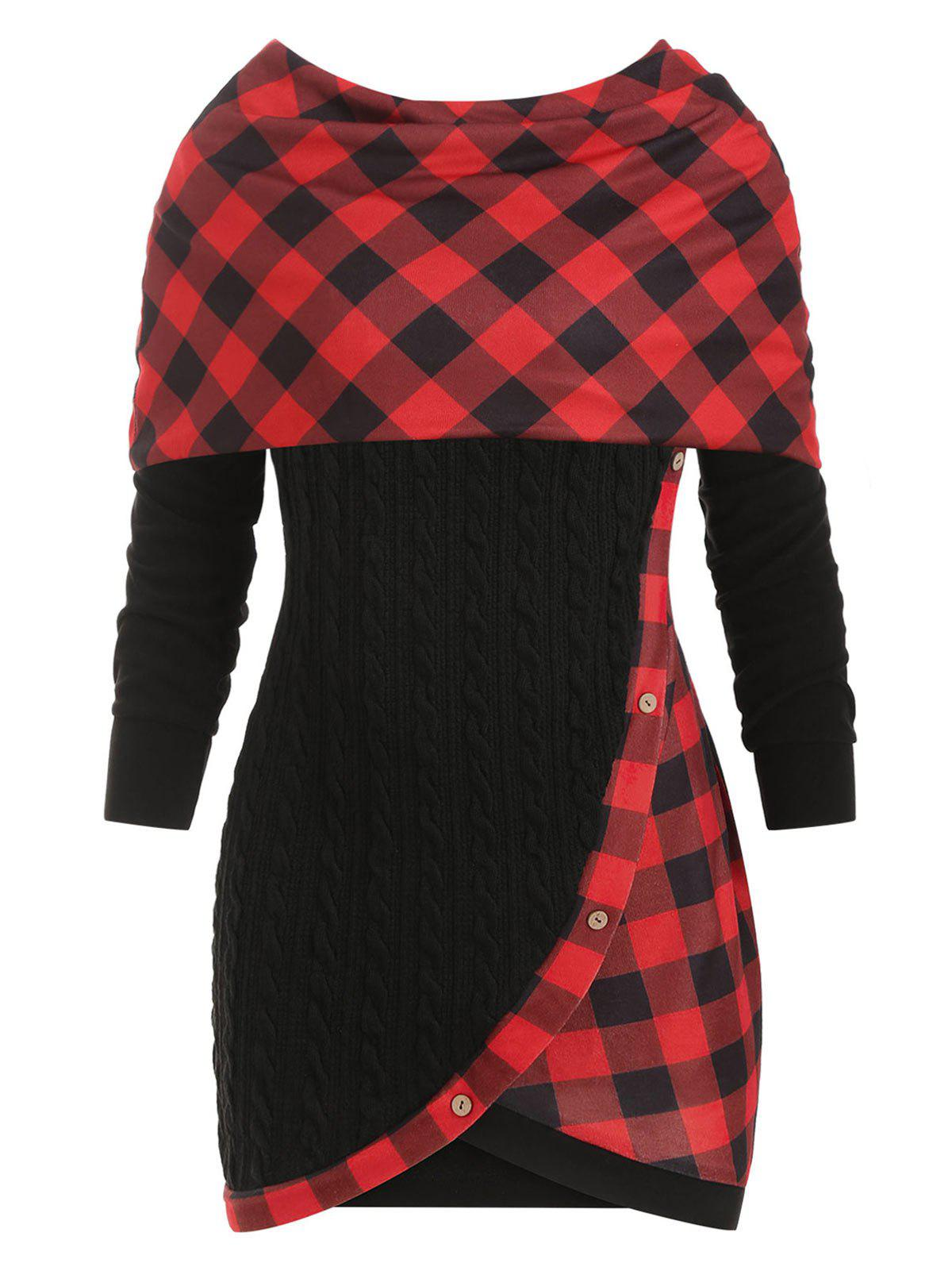 Plus Size Convertible Plaid Cable Knit Sweater - BLACK 4X