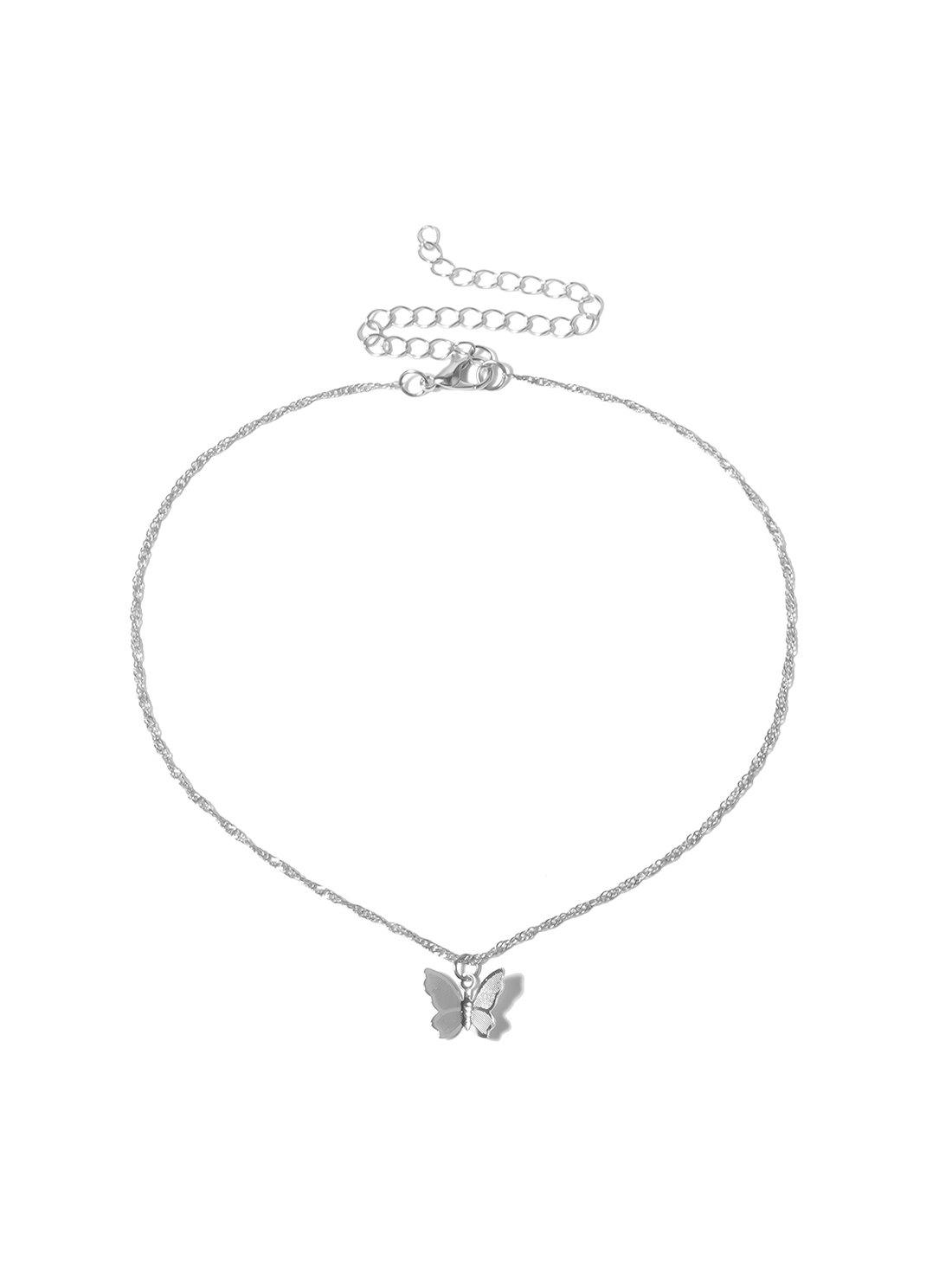 Butterfly Pendant Chain Short Necklace - SILVER