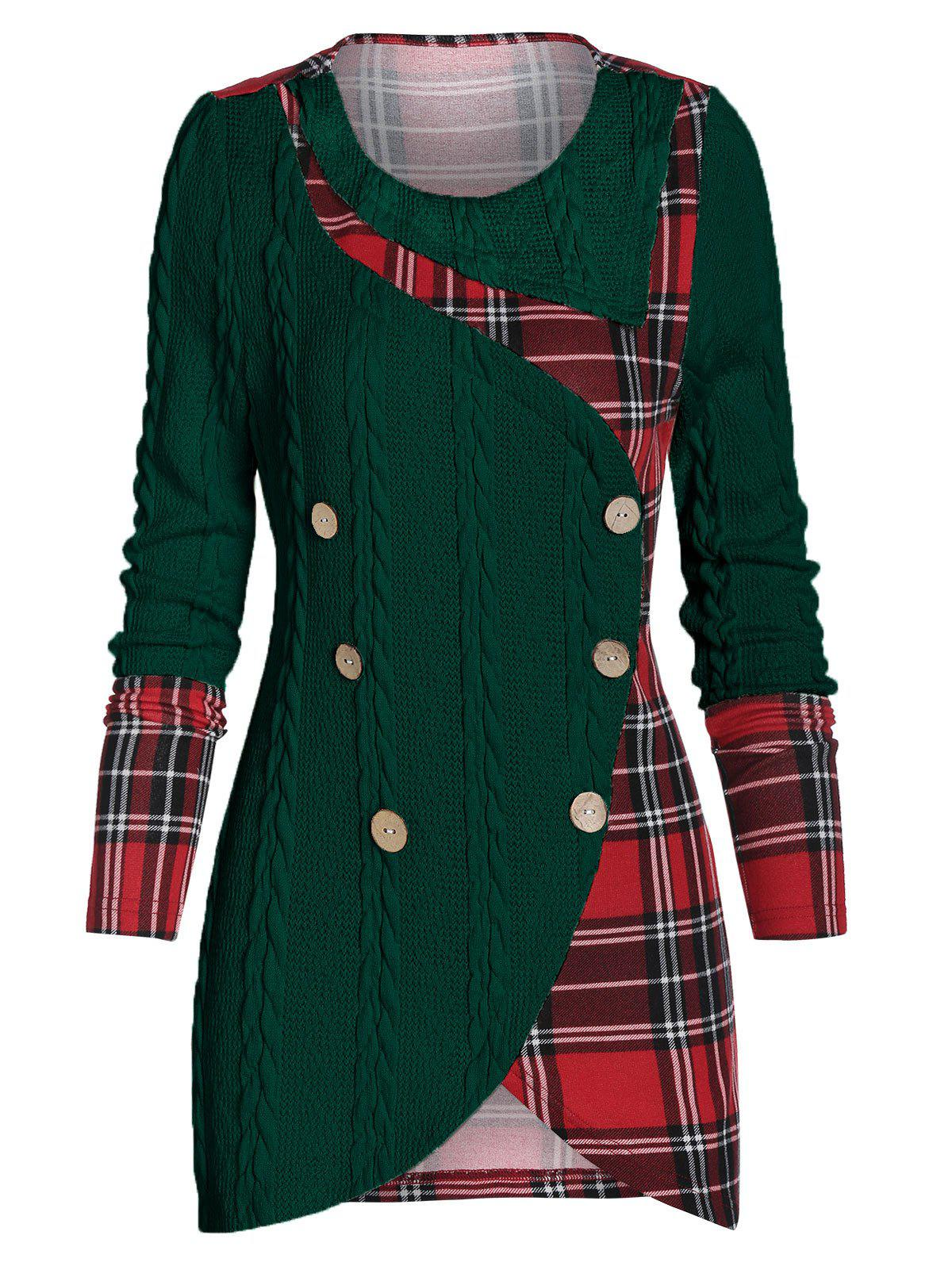Plaid Panel Mock Button High Low Sweater - DARK GREEN M